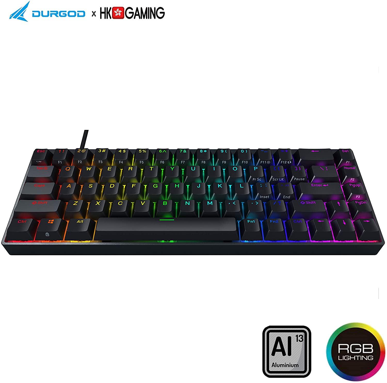Durgod Hades 68 RGB Mechanical Gaming Keyboard - 65% Layout - Cherry Profile - NKRO - USB Type C - Aluminium Chassis (Cherry Speed Silver, Black PBT)
