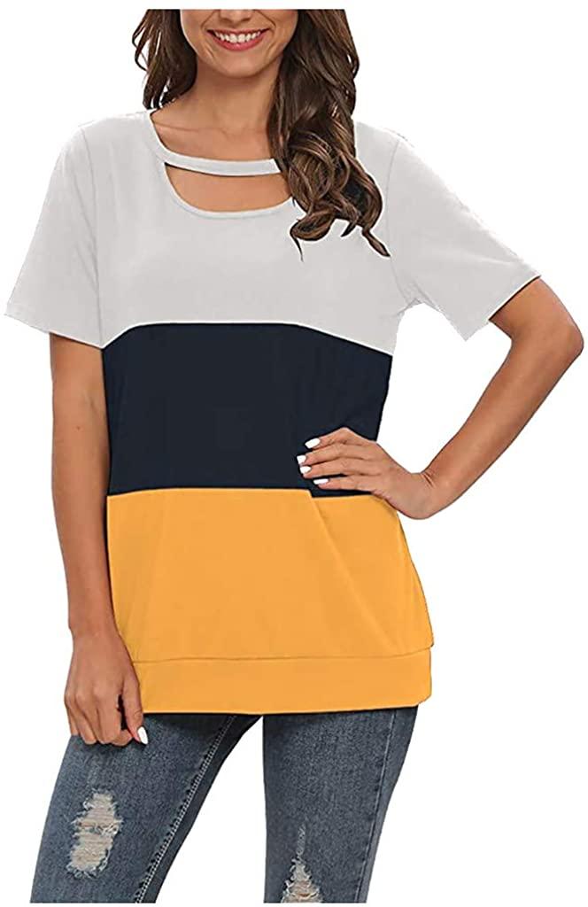 Xchenda Polo Shirts for Women,Women's Casual Short Sleeve Patchwork Plus Size Shirts O-Neck Shirts Tops Blouse Tee