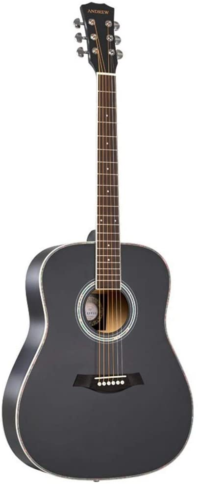 Guitar 41 Inches Acoustic Guitar Solid Wood Veneer Guitar for Beginner Professional Black (Color : Black, Size : 41 inches)