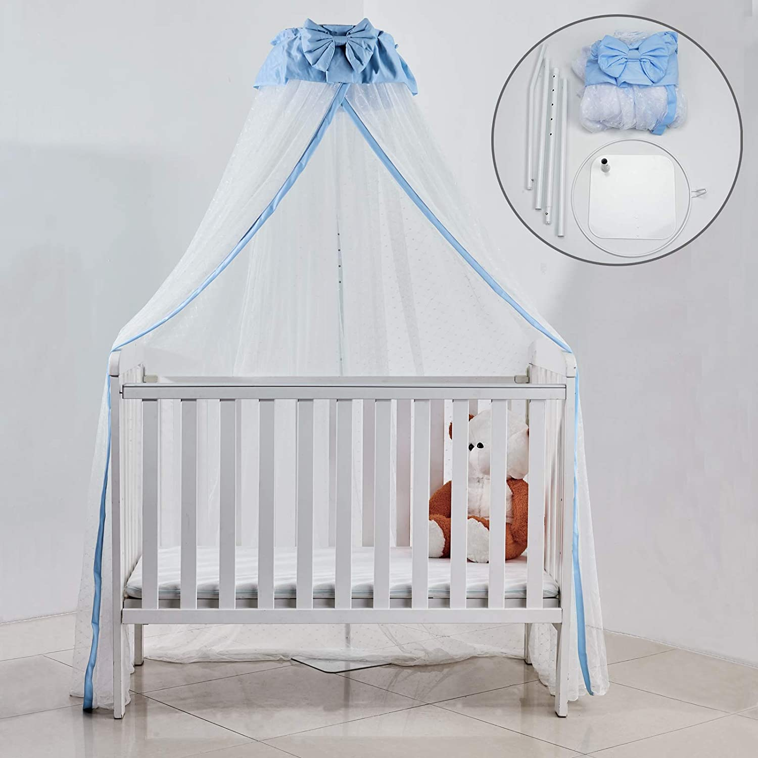 Crib Net Set- Baby Bed Dome Canopy Netting Cover with Metal Adjustable Floor Stand Holder Infant Toddler Cots Tent Net-Protect Your Baby from Bites(Blue/Floor Stand Holder)