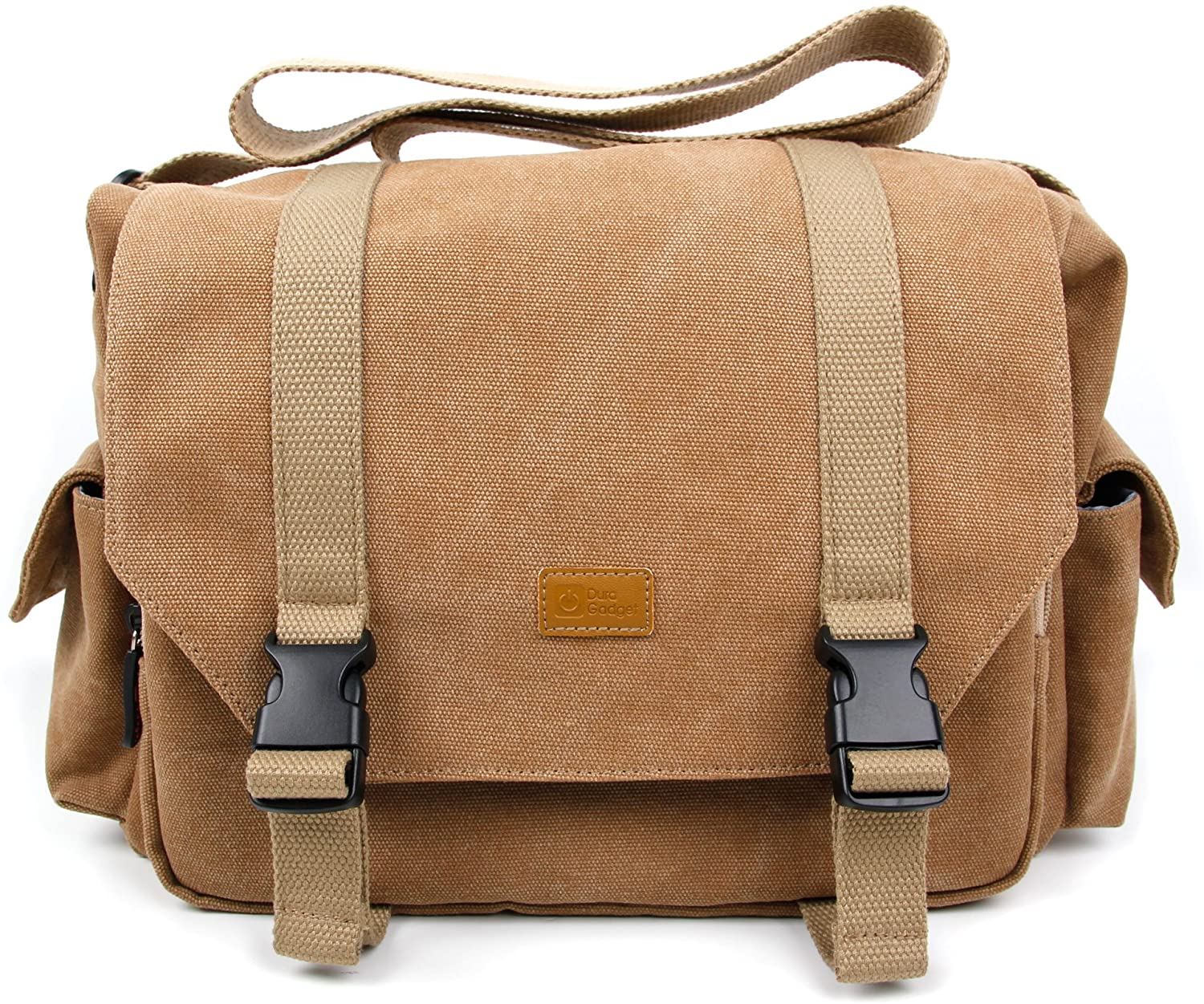 DURAGADGET Tan-Brown Large Sized Canvas Carry Bag with Multiple Pockets & Customizable Interior Compartment - Compatible with Zealot S7