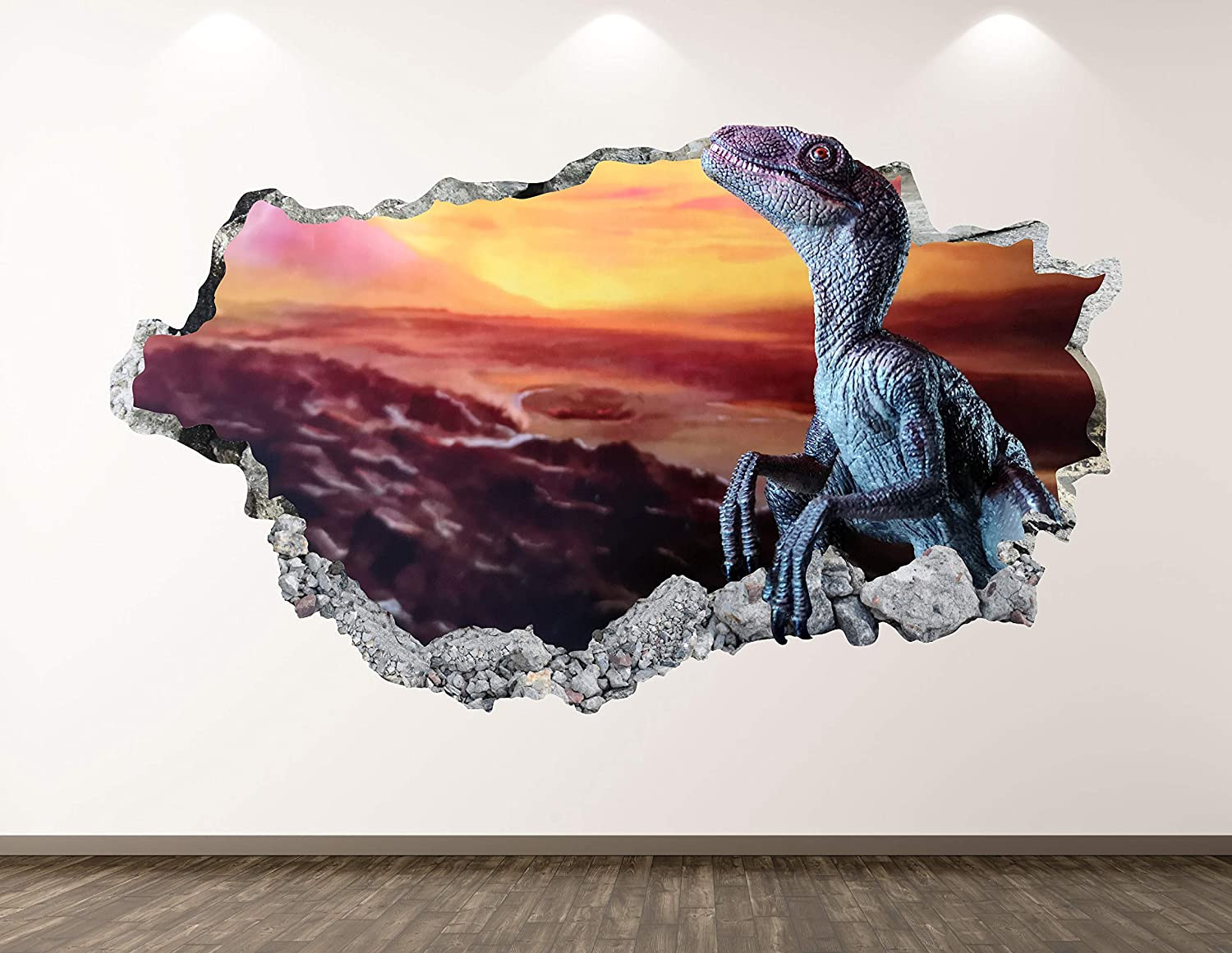 West Mountain Dinosaur Wall Decal Art Decor 3D Smashed Reptile Sticker Mural Kids Room Custom Gift BL64 (22