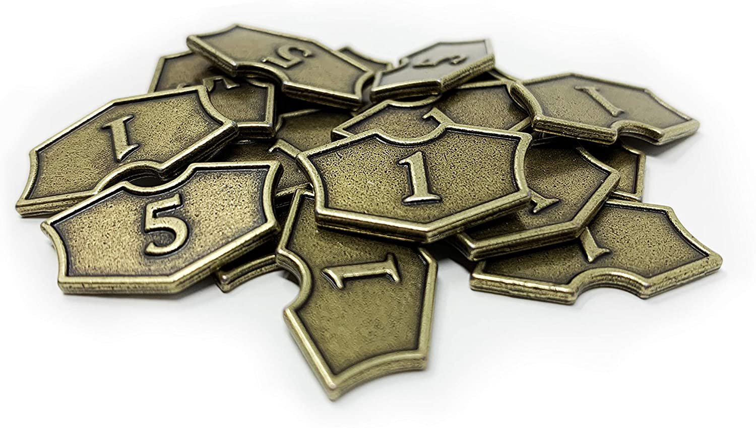 Citadel Black MTG Loyalty Counters Set of 20 Metal Tokens - with Velvet Drawstring Pouch, Antique Gold Finish Metal Tokens, Magic: The Gathering