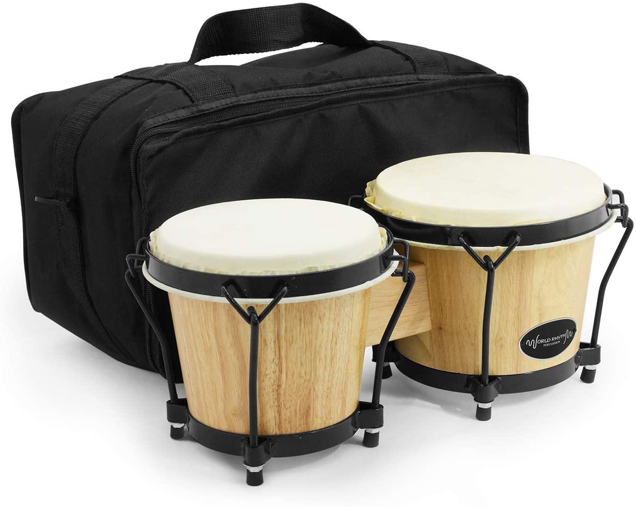 World Rhythm Bongo Drums with Padded Bag
