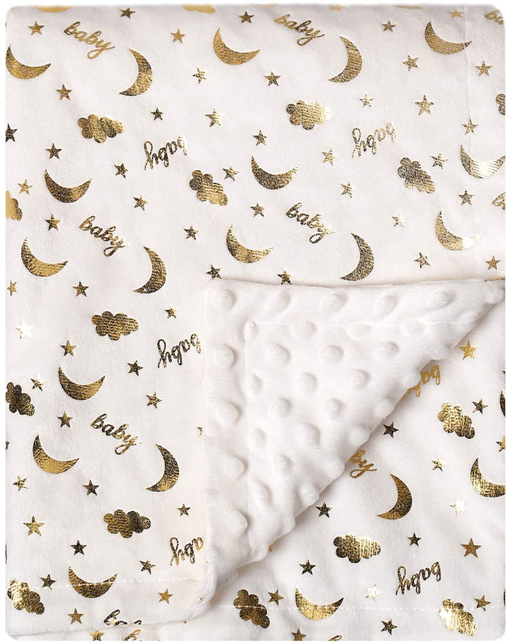 BORITAR Baby Blanket Super Soft Minky Blanket with Dotted Backing for Boys and Girls, Receiving Toddler Blanket with Golden Foil Printed 30 x 40 Inch(75x100cm)