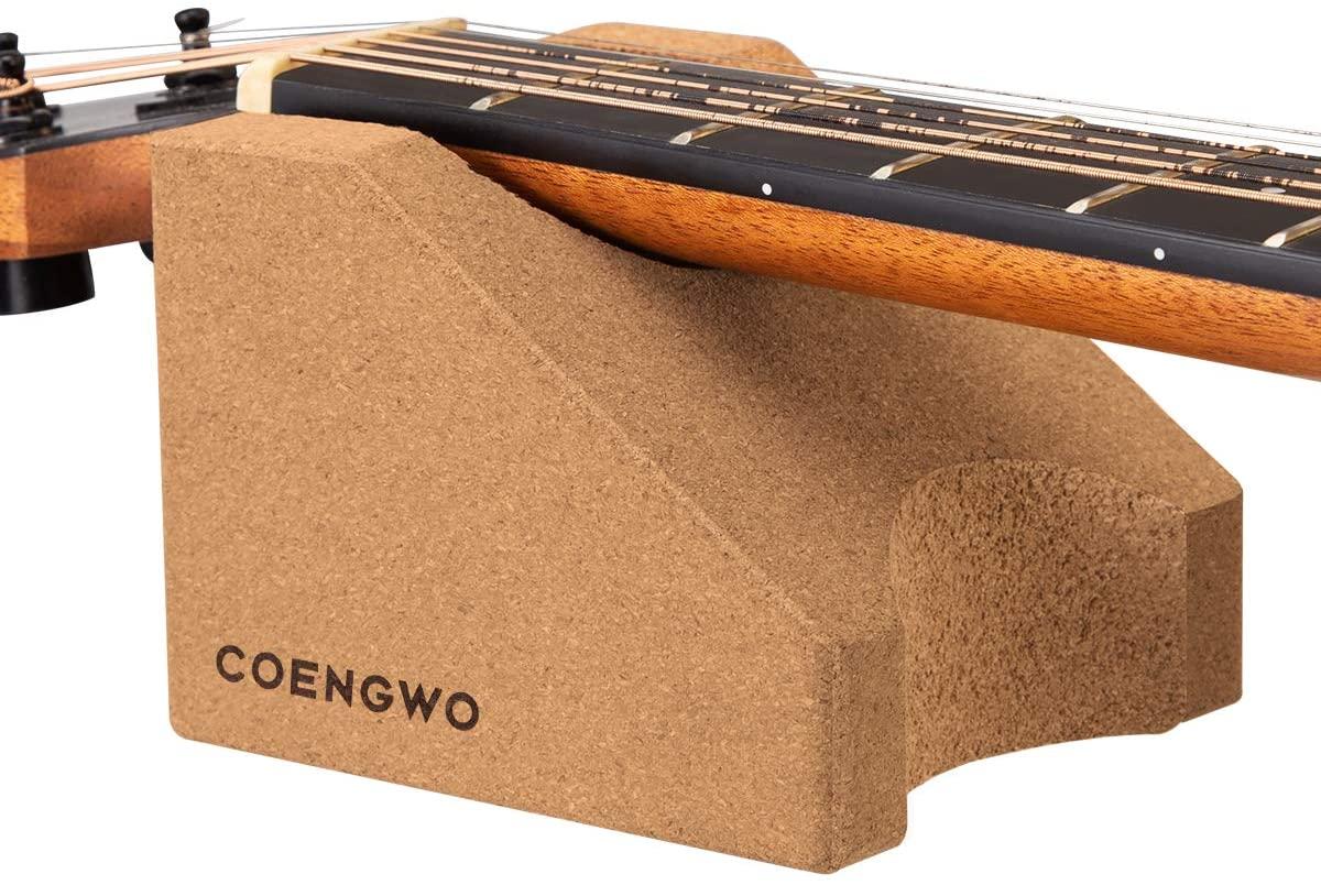 COENGWO Guitar Neck Rest, Guitar Stand Cork Guitar Neck Cradle String Instrument Neck Support Luthier Tools Guitar Cleaning Kits for Guitars, Ukuleles, Violins, Banjos, Mandolins, 1 Pack
