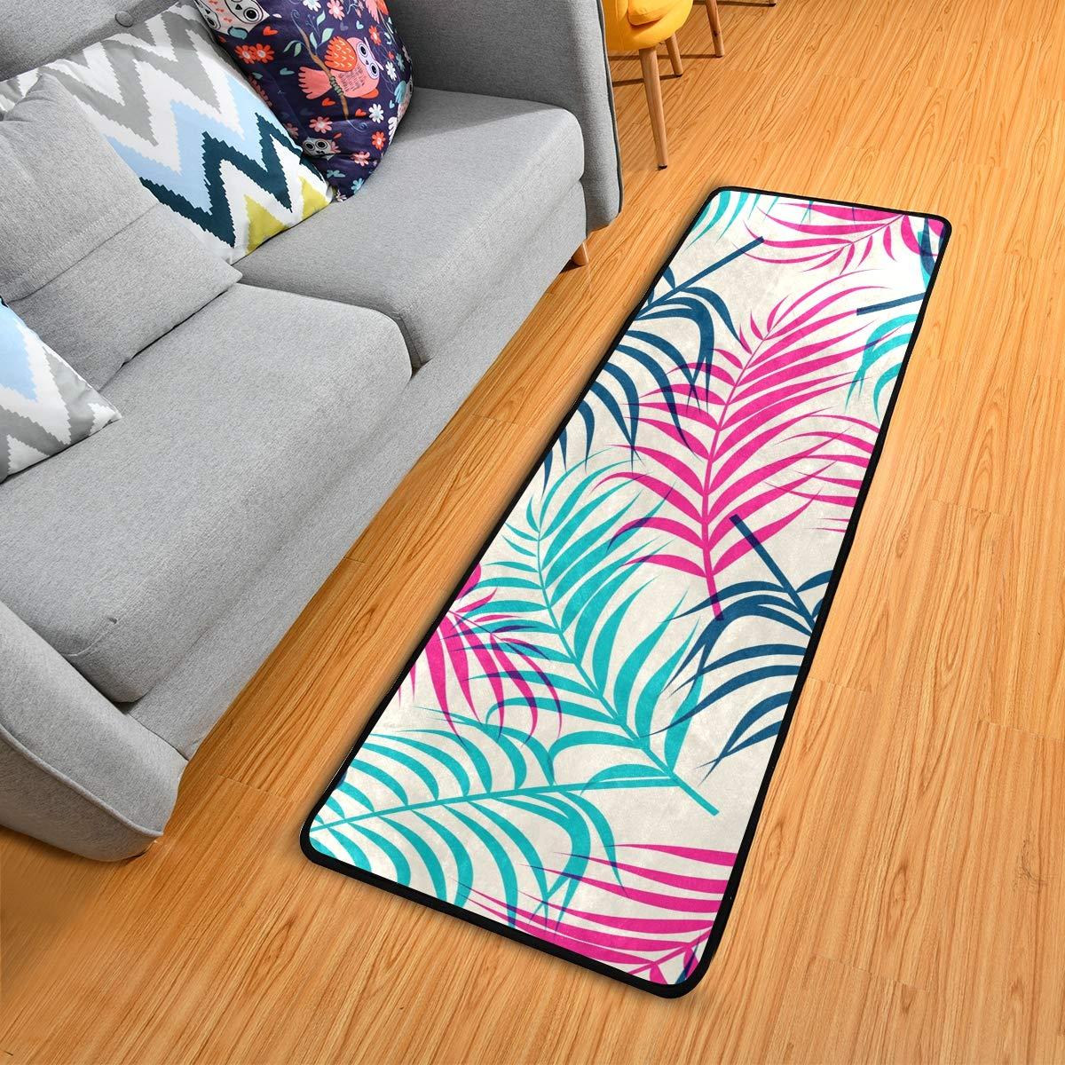 Hallway Runner Rug Rubber Backing - Tropical Summer Palm Leaves Runner Rug for Kitchen Rug Carpet Runner Non Skid Washable Rug Runner 2x6