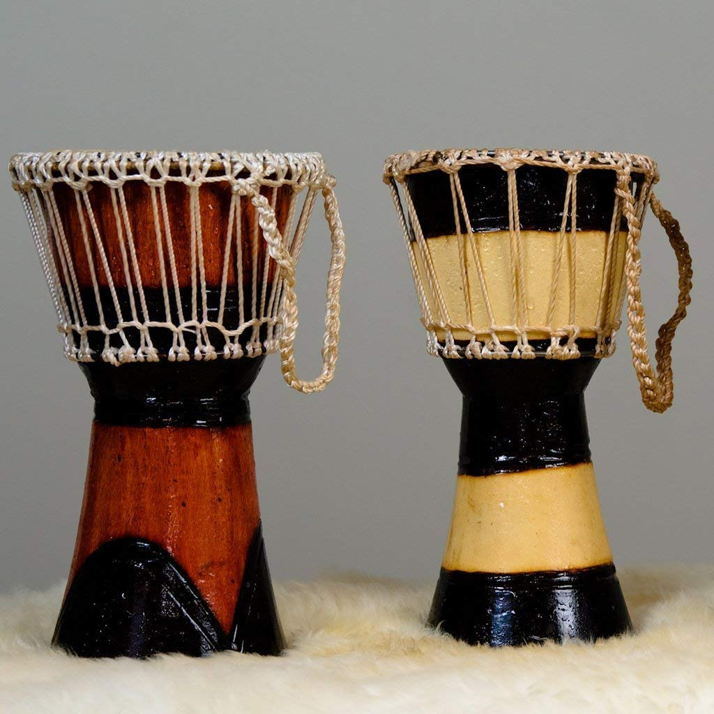 OneMama's African Hand-carved Djembe, Hand-Painted Mahogany Wood Goat Skin Drum Head 6