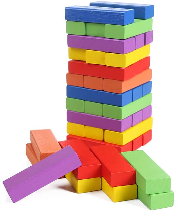 Brandon-super Lotus Wood Building Blocks, Stacking Height, Inverted Tower, Mixed Colors, (48 PCS)