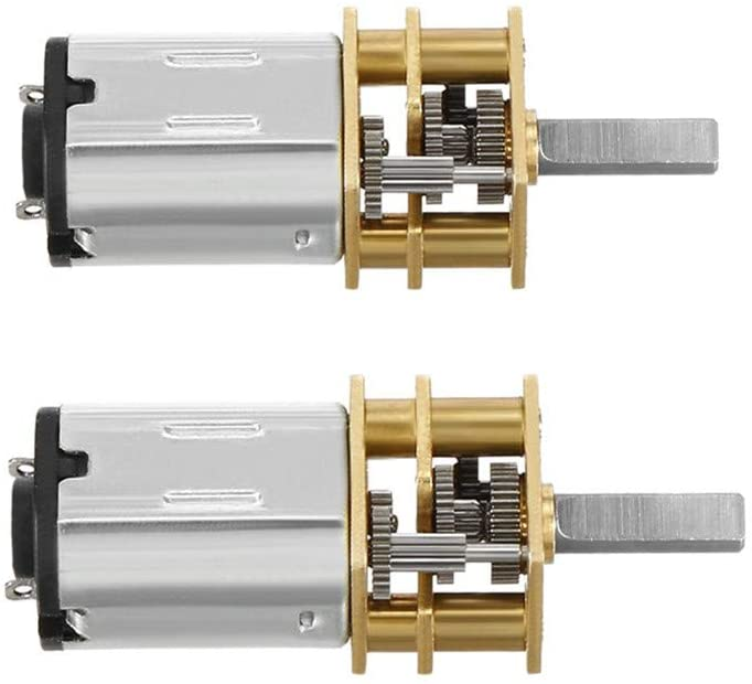 QMseller 2Pcs Micro Speed Reduction Motor DC 12V 60RPM with Full Metal Gearbox 0.18A Electric Gear Box Motor with 2 Terminals for DIY RC Toys