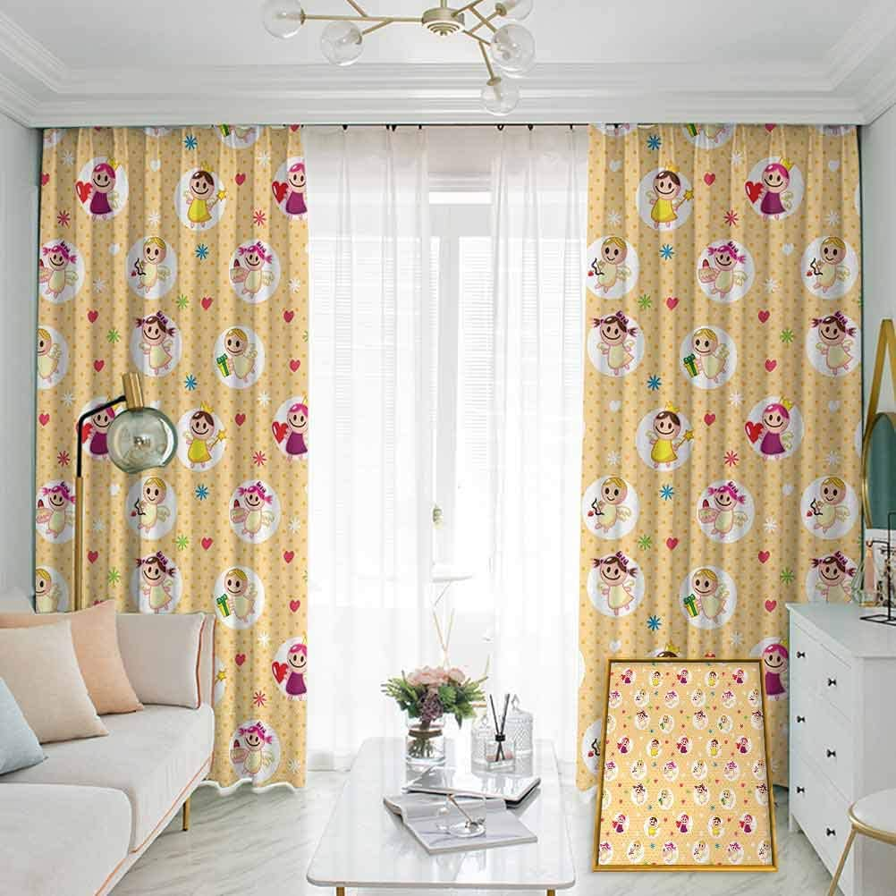 Annery Angel Noise-Proof Sunshade Curtain Childhood Baby Nursery Kids Motherly Love Playroom Toddler Polka Dots Graphic Waterproof Fabric W72 x L96 Inch Pale Yellow White
