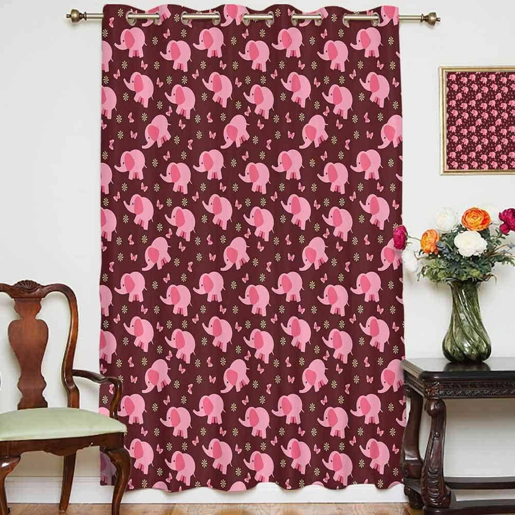 Elephant Nursery Decor Shading Curtains Baby Elephants Butterflies Flowers Sweet Girls Room Decorative Grommets Panels Printed Curtains ,Single Panel 63x45 inch,for Living Room Burgundy Light Pink Yel