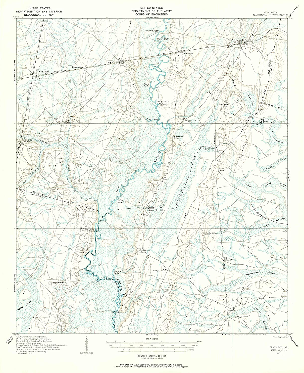 Map Print - Nahunta, Georgia (1917), 1:62500 Scale - 24