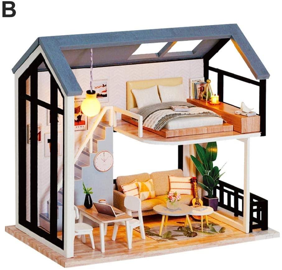 QAHEART DIY Miniature Dollhouse Kit with Furniture Romantic Artwork Gift Mini Wooden Dollhouse, Nordic Style,Dust Proof Cover ,Best Birthday Gifts for Women and Girls