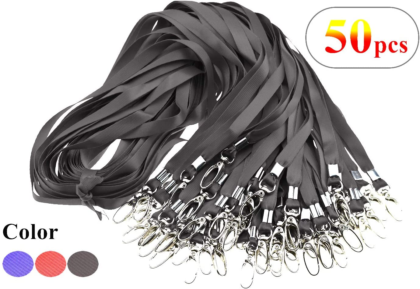 Uohom 50 pcs Safe and Durable Nylon Black Lanyards for Badge Clip
