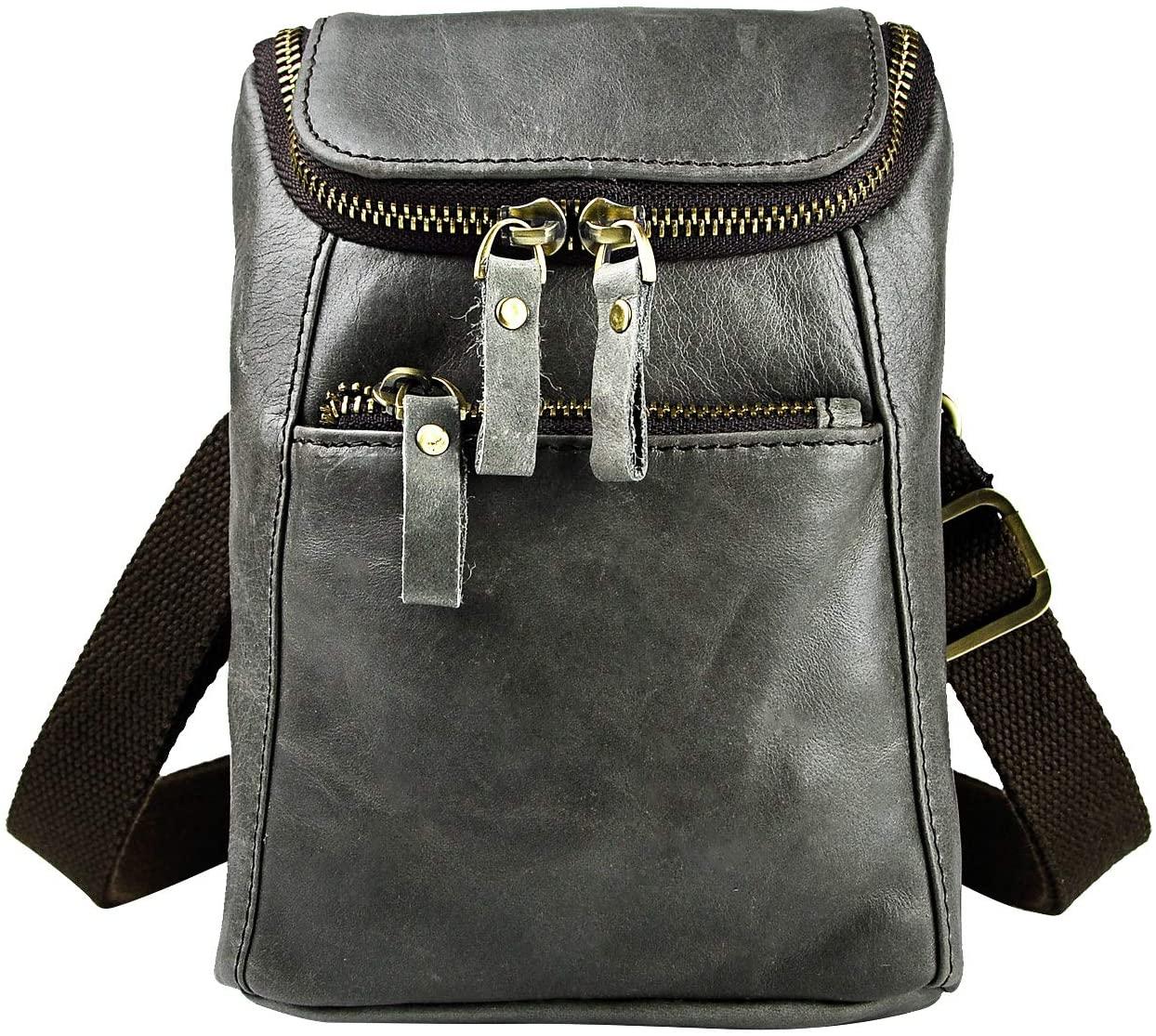 Leaokuu Mens Genuine Leather Mini Messenger Shoulder Bag Pouch Hook Waist Bag Pack (grey 2)