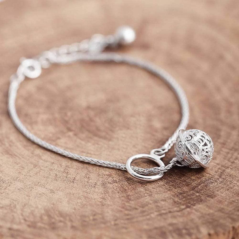 SLL Unisex Einfache 925 Silber Überzug Armband S925 Sterling Silber Glocke Armband Natürliche Persönlichkeit Wild Geschenk