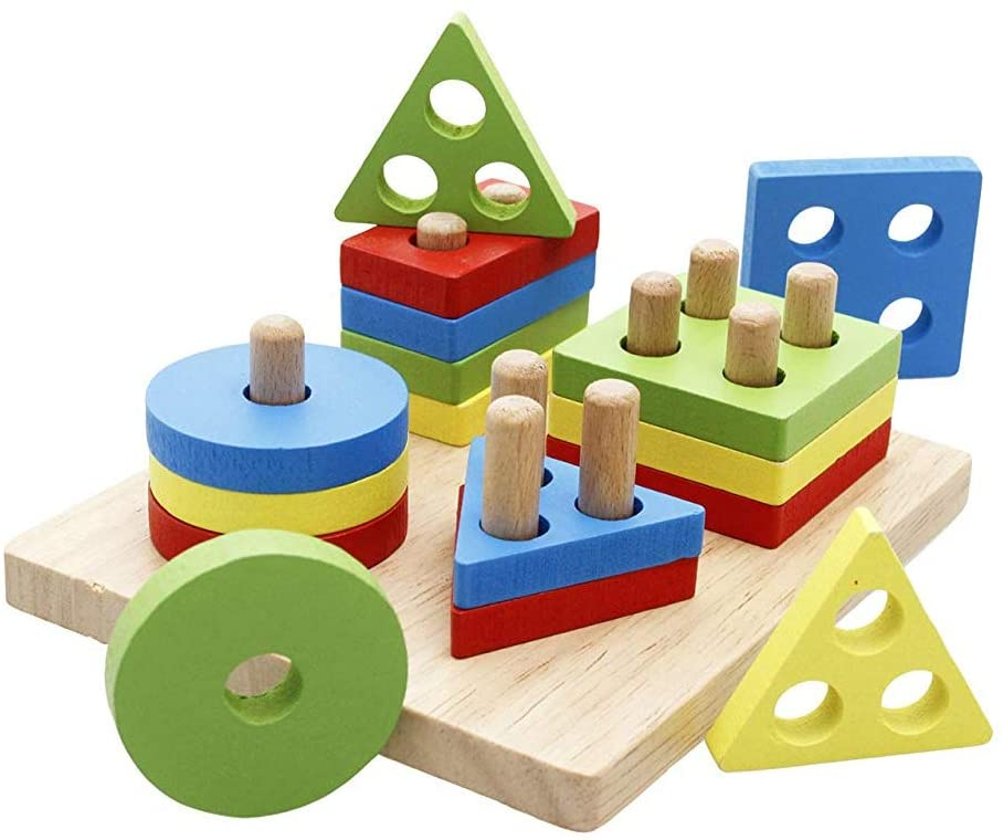 1Set Wooden Puzzle Toddler Toys Geometric Shapes Sorter Preschool Geometric Blocks Stacking Games for Kids