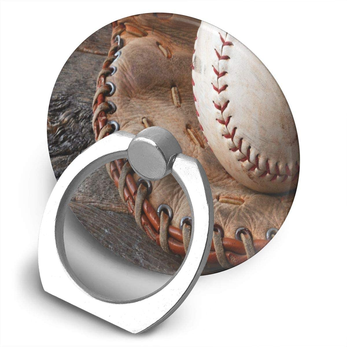 Universal Phone Ring Holder Baseball and Leather Baseball Glove. Round Cell Phone Ring Stand Adjustable 360°Rotation Finger Kickstand Grip-Silver Mobile Phone Stand for Women Kids Men Ladies Smartpho