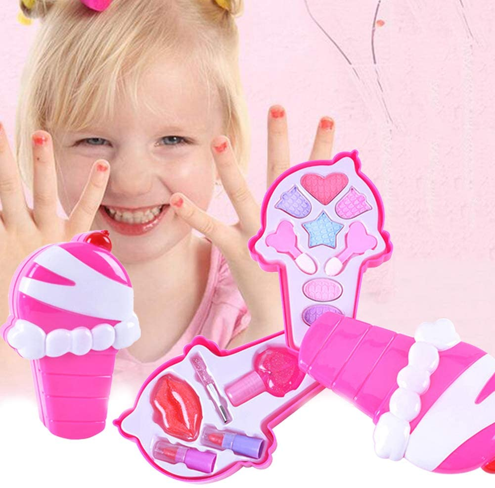 Maserfaliw Pretend Play Cosmetics Toy, Lovely Girls Ice Cream Shape Make up Cosmetics Game Pretend Play Nail Polish Toy, Birthday Gifts, Home, Travel.