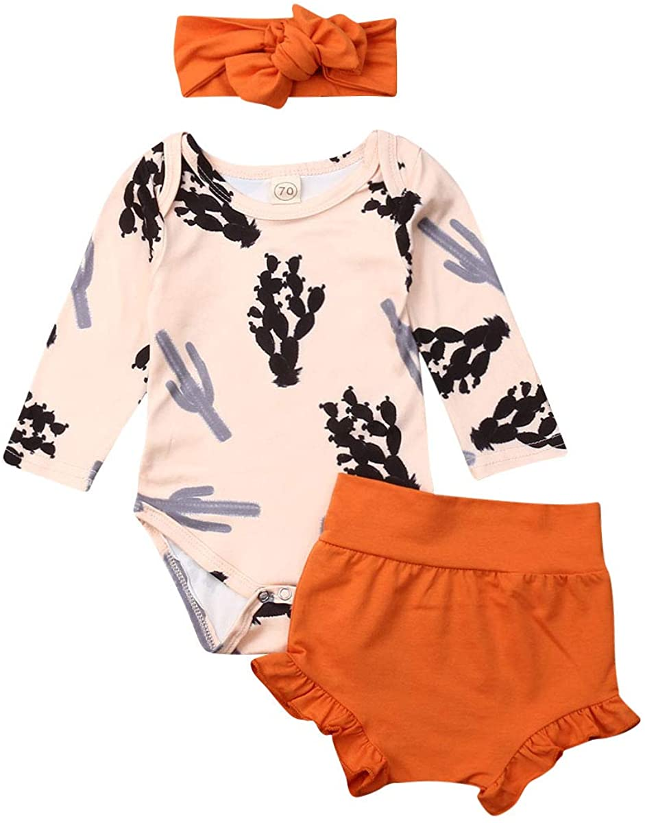 3Pcs Newborn Toddler Baby Girl Cactus Print Long Sleeve Romper +Ruffled Solid Shorts + Headband Outfit Clothes Set