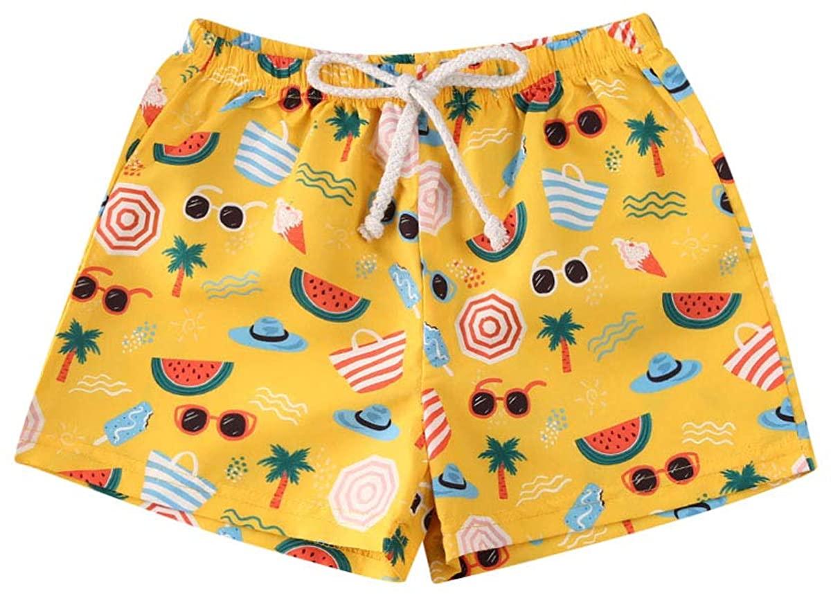 Ambabe Toddler Baby Boy Swim Trunks Quick Dry Cartoon Printed Elastic WaistBeach Shorts Summer Swimwear Outfit
