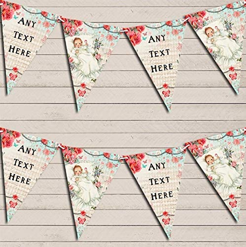Vintage Shabby Chic Floral Pink Blue Baby Roses Personalized Christening Bunting Garland Banner Decoration