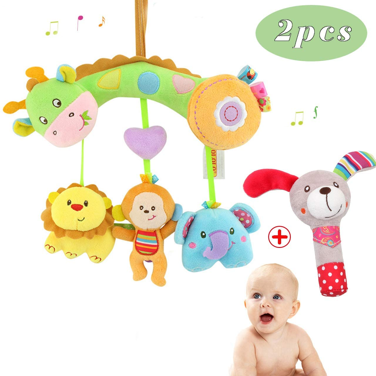 GHIFANT Baby Soft Rattles Cute Giraffe Rattles Baby Toys Plush Rattles Set Gift for Newborn Toddler Boys and Girls (Giraffe)