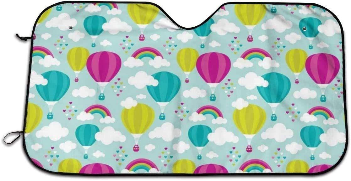 Hot Air Balloon and Rainbows Windshield Sunshade for Car Foldable UV Ray Reflector Visor Shield Cover