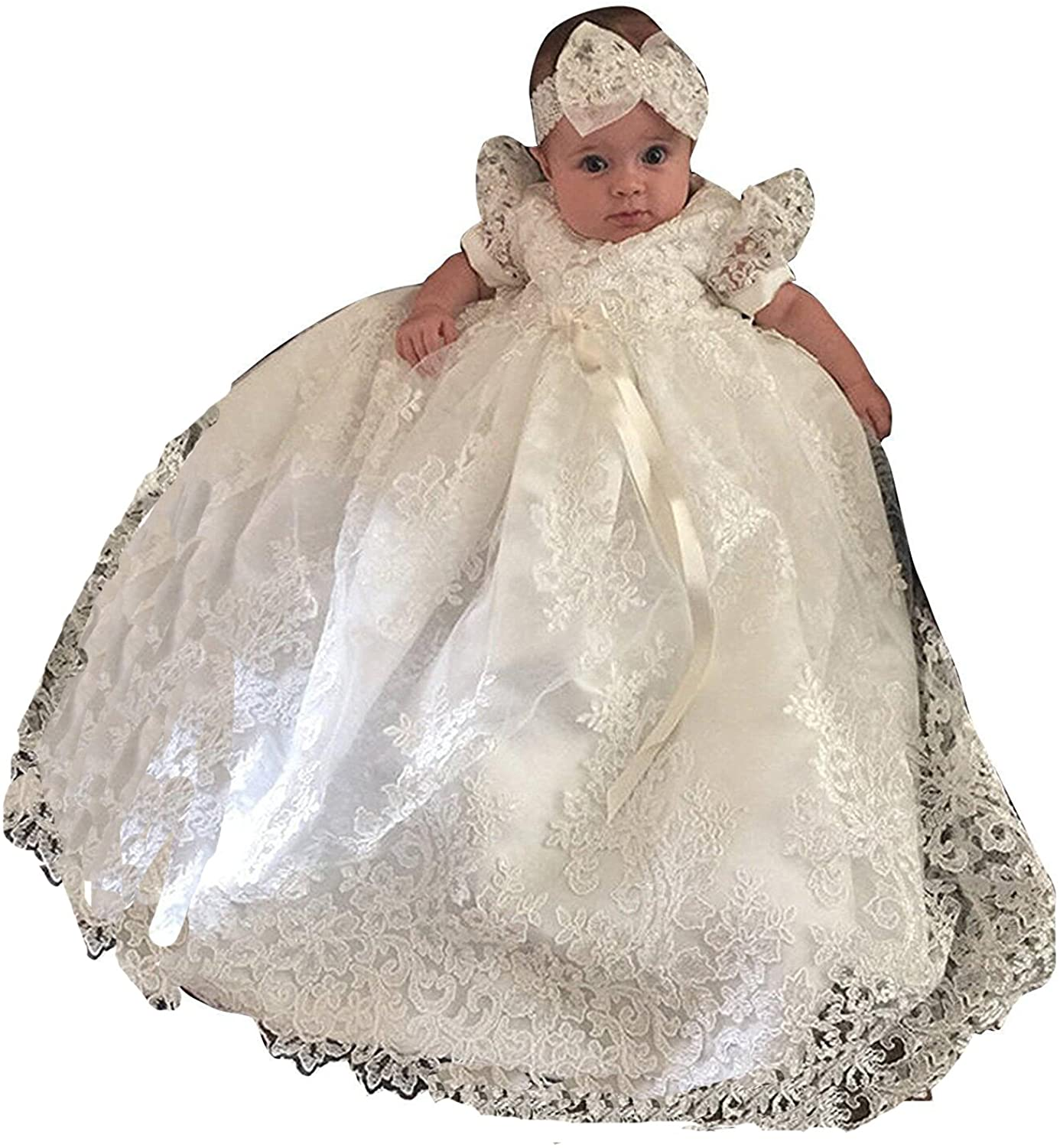 Newdeve Baby-Girls Lace Beads Infant Toddler White Christening Gowns Long (9-12 Months, Ivory)