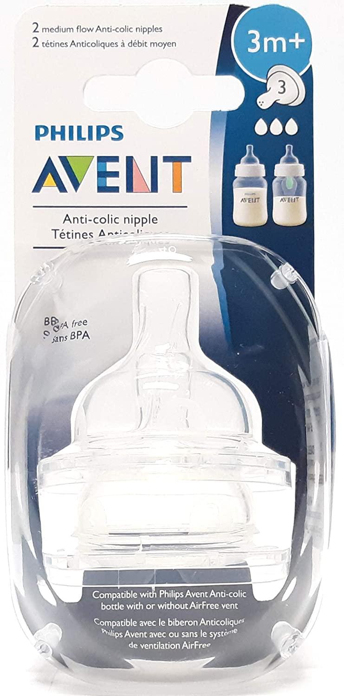 Philips Avent BPA-Free Medium Flow Nipple 2Ct - Pack of 3