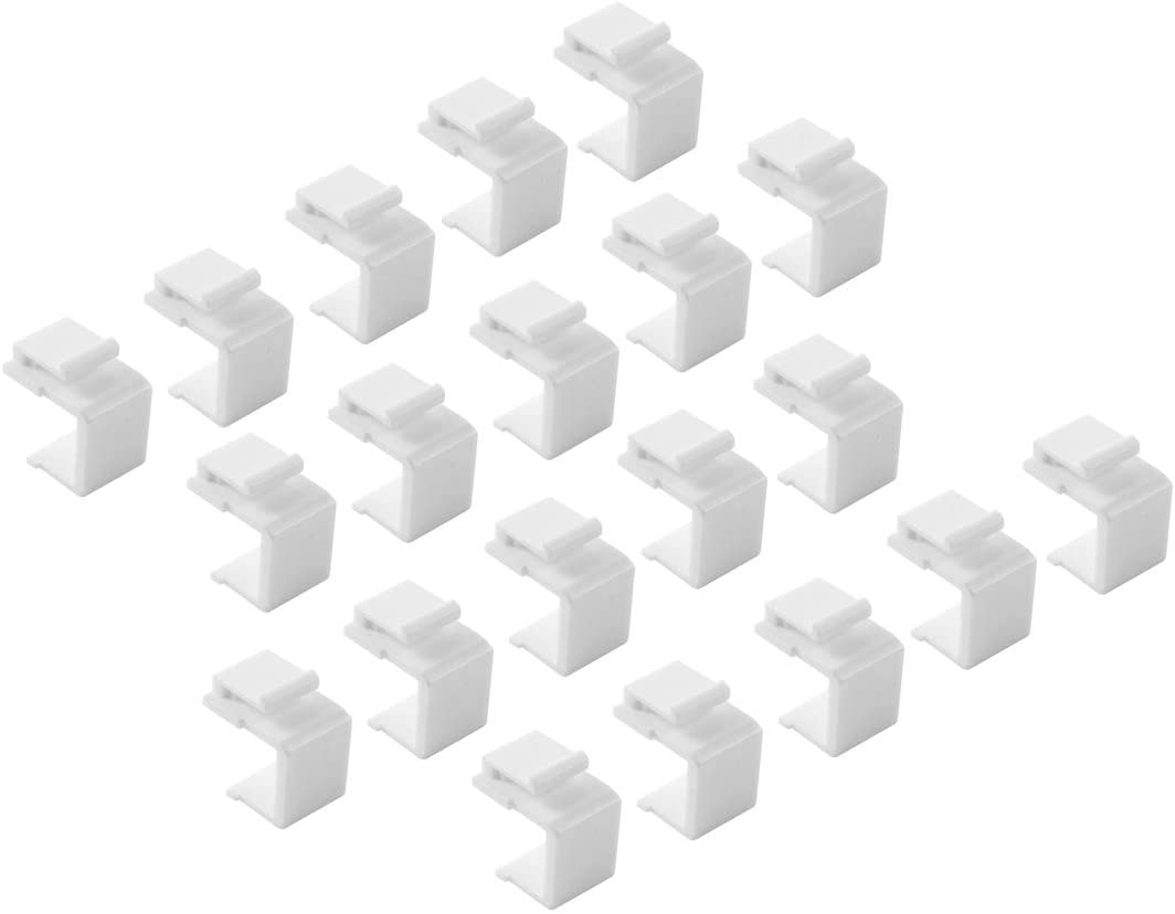 TENINYU (20-Pack) Blank Keystone Jack Inserts for Wall Plate, White