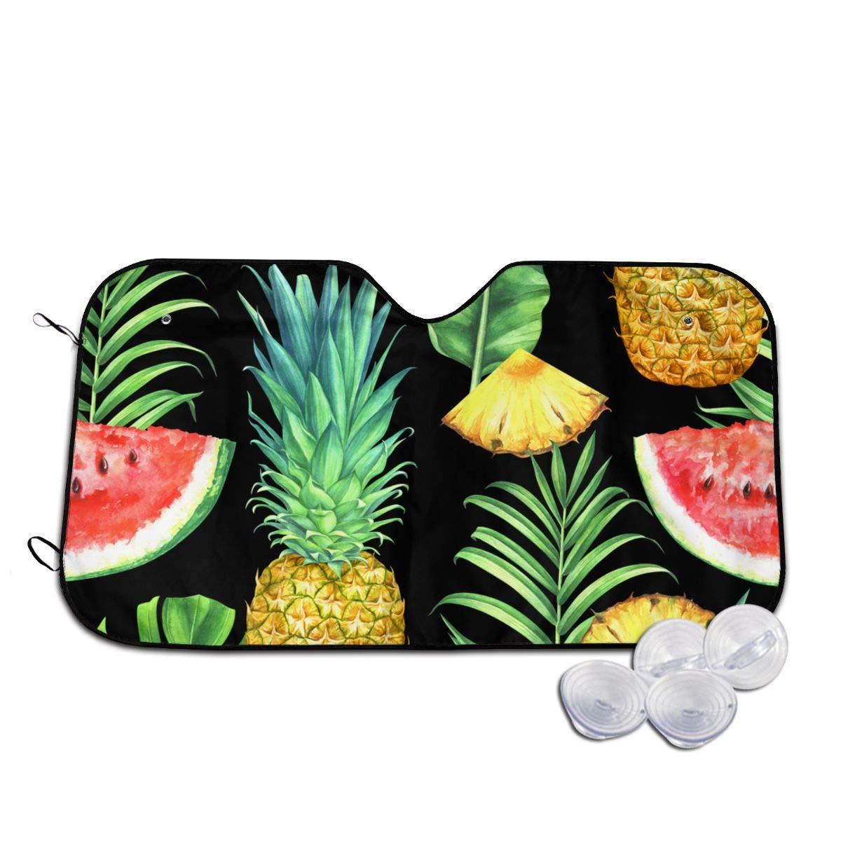 Pineapples Watermelons and Leaves Heat Resist Sunshade Waterproof Lightweight Window Shade Aluminum Sunshield for Truck Camper Car