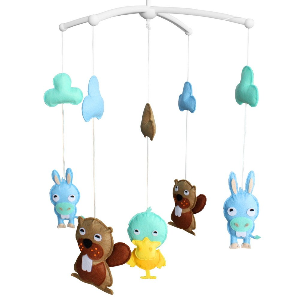 Baby Crib Decoration Educational Toys Nursery Decor Design Hand-Stitched Newborn Gift Lullaby Musical Mobile-C22