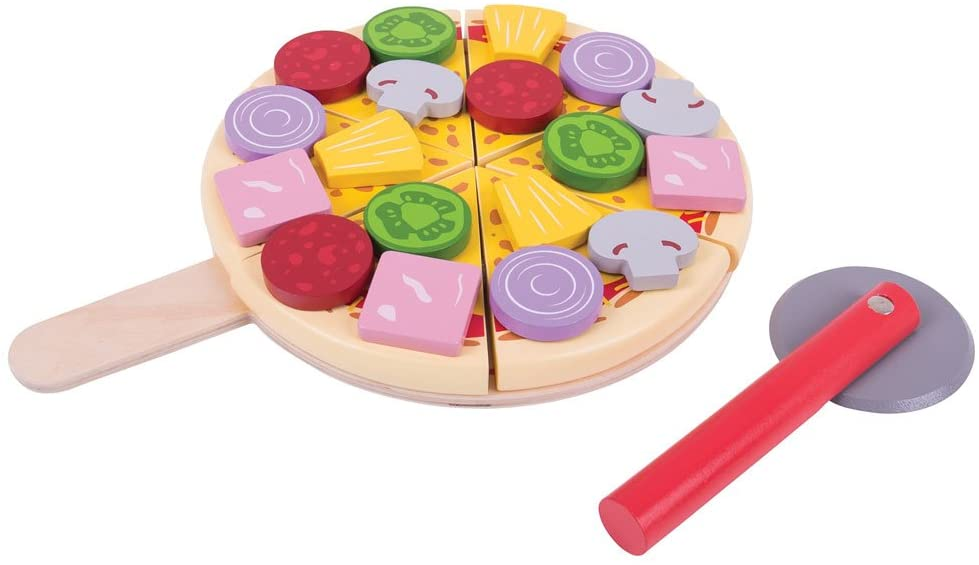 Bigjigs Toys Wooden Cutting Pizza with Wooden Toppings and Pizza Cutter - Play Food and Role Play for Kids