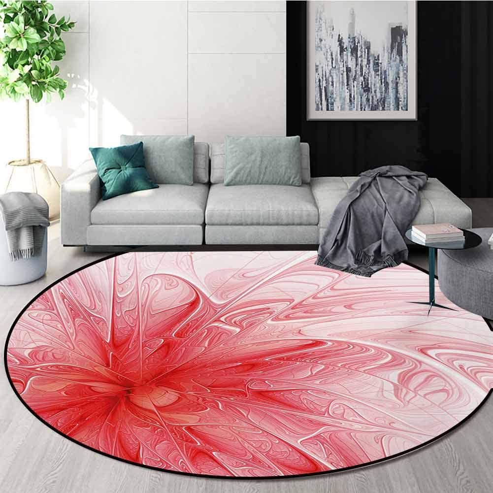 RUGSMAT Fractal Round Rugs for Bedroom,Abstract Background with Floral Detail and A Splash of Colored Paint Artwork Circle Rugs for Living Room,Diameter-71 Inch Red and White