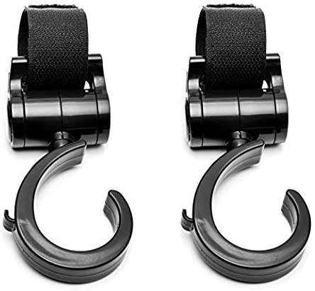 2 Pack Stroller Hook Multi Purpose Hooks Hanger for Baby Diaper Bags, Groceries, Clothing, Purse - Great Accessory for Mommy When Jogging, Walking or Shopping