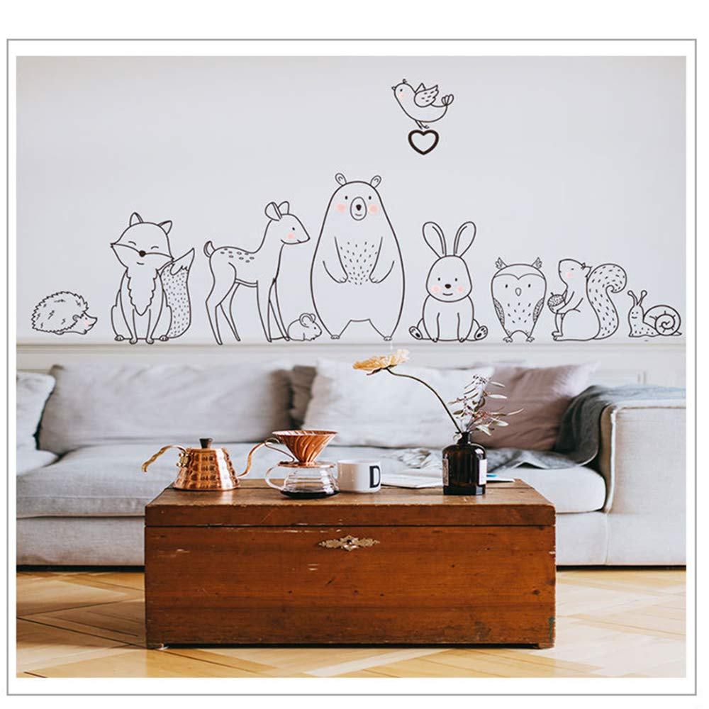 Finduat Jungle Theme Large Cartoon Animal Wall Stickers for Unisex Kids Playroom, Baby Nursery Wall Decals, Baby Bedroom Decor