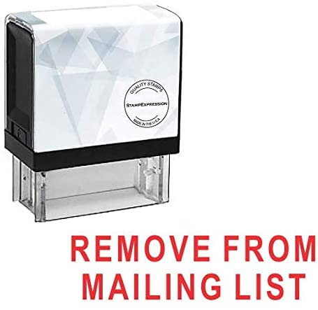 StampExpression - Remove from MAILING List Office Self Inking Rubber Stamp - Red Ink (A-5374)