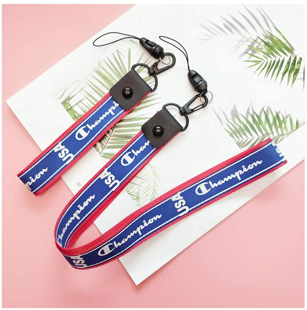 Champion Lanyard Personality Letter Canvas Lanyards Cool Wrist Lanyard for Key Chain,Mobile Phone,Badge Holder (Blue)
