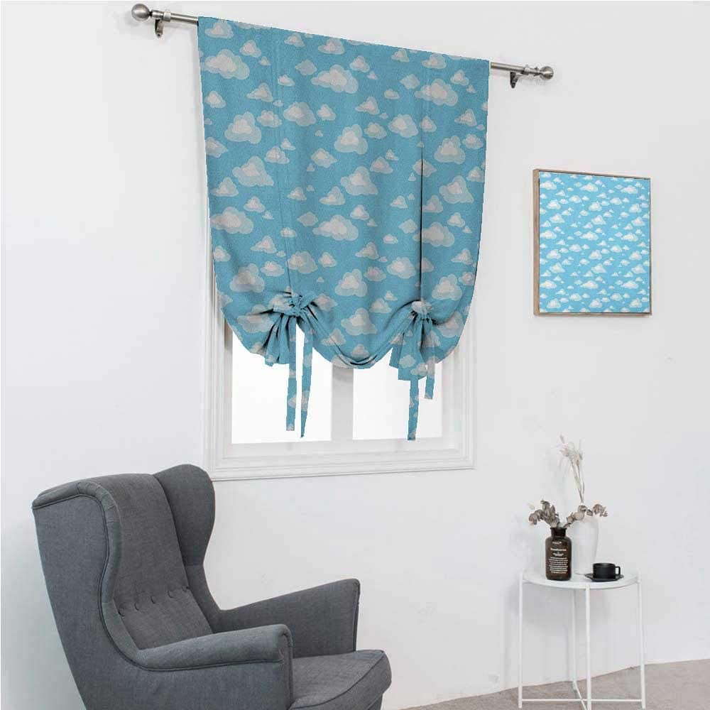 GugeABC Blackout Curtains Blue and White Kids Bedroom Windowsill Cartoon Sky with Fluffy Clouds Clear Day Baby Pattern 30