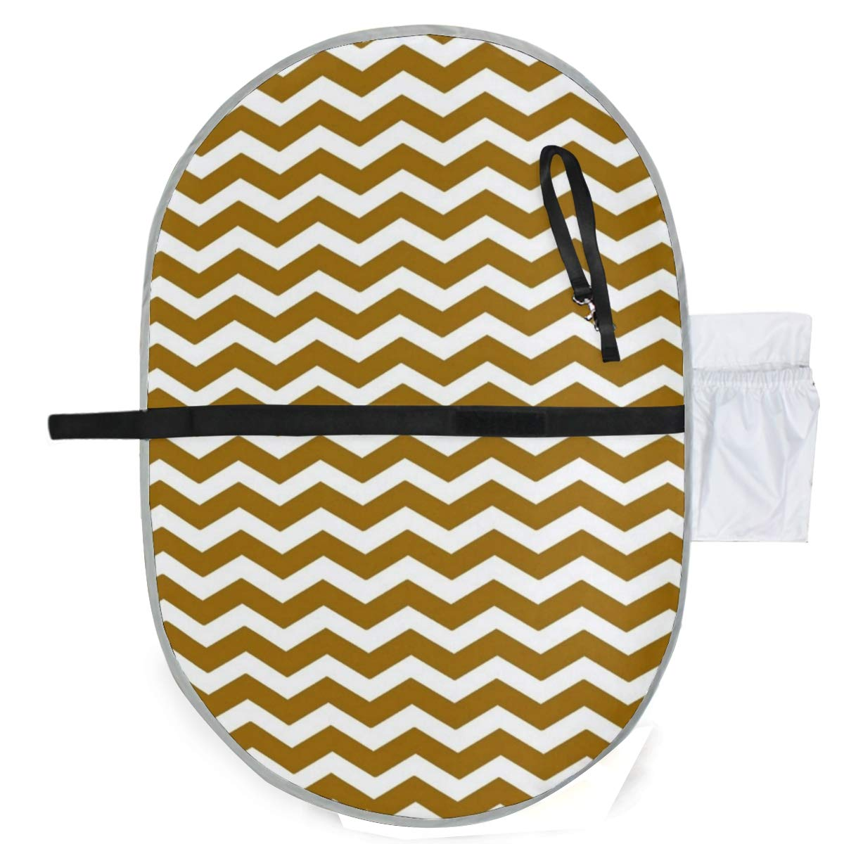 Changing Pad White and Gold Chevron Baby Diaper Incontinence Pad Mat Personalized Toddler Children Pee Pads Sheet for Any Places for Home Travel Bed Play Stroller Crib Car