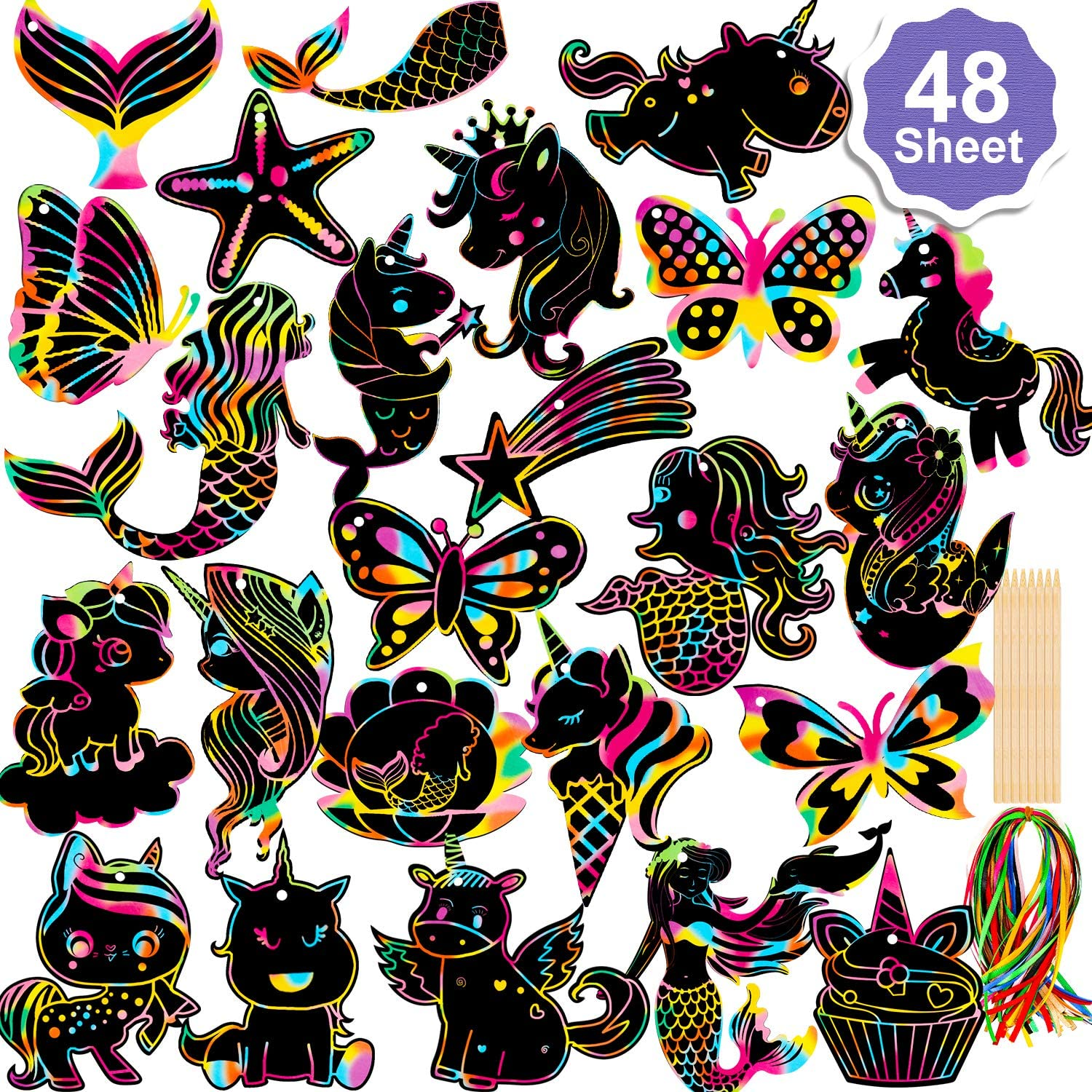 Konsait 48Pack Scratch Paper Art Set,Rainbow Magic Scratch Off Arts Crafts Supplies Mermaid Unicorn Butterfly Kits for Kids Teens Classroom Gifts Birthday Game Halloween Christmas Easter Valentine Favors
