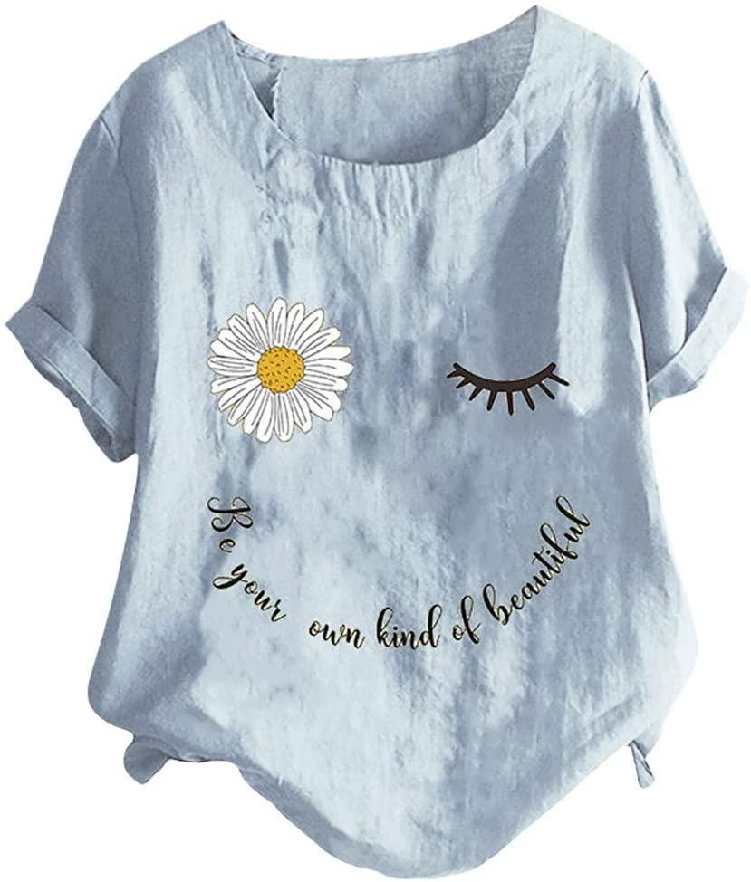 HebeTop Womens Plus Size Tops Crew Neck Short Sleeve Floral Print Button Down Cotton Linen T-Shirt Casual Blouse