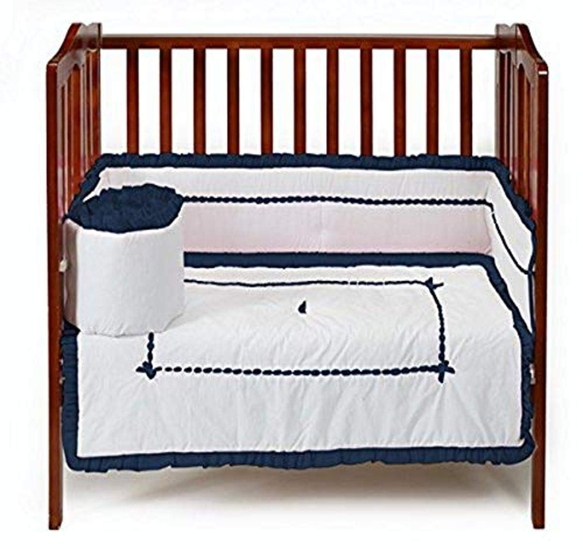 Baby Doll Bedding Unique Mini Cirb/Port-a-Crib Bedding Set, Navy