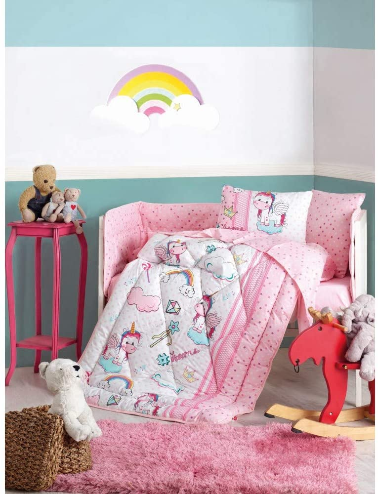 paradise RANFORCE 100% Cotton Cute Unicorn Themed Nursery Crib Set for Baby Girls, 6 Pieces Baby Comforter/Quilt Set with Crib Bumper, Comforter, Crib Sheet, Pillowcases, Pink
