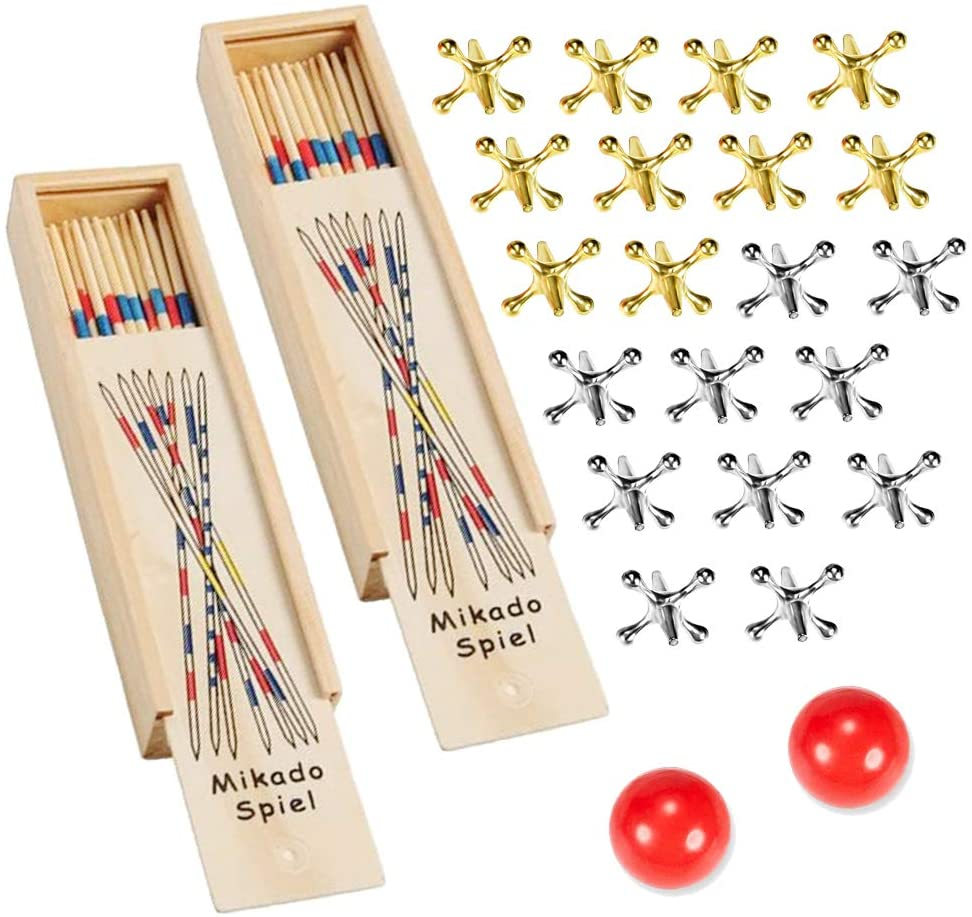 Jacks Game with Ball and Pick-Up Sticks Gift Set,with 20 Pieces Gold and Silver Metal Jacks, 2 Piece of Red Ball, 60 Piece Wooden Vintage Pickup Toys,Jax Game, Retro Game