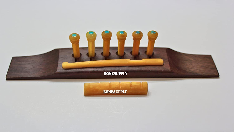 6 String Rosewood Bridge Bone Saddle & Nut 6pcs BONE Pins for Acoustic Guitar