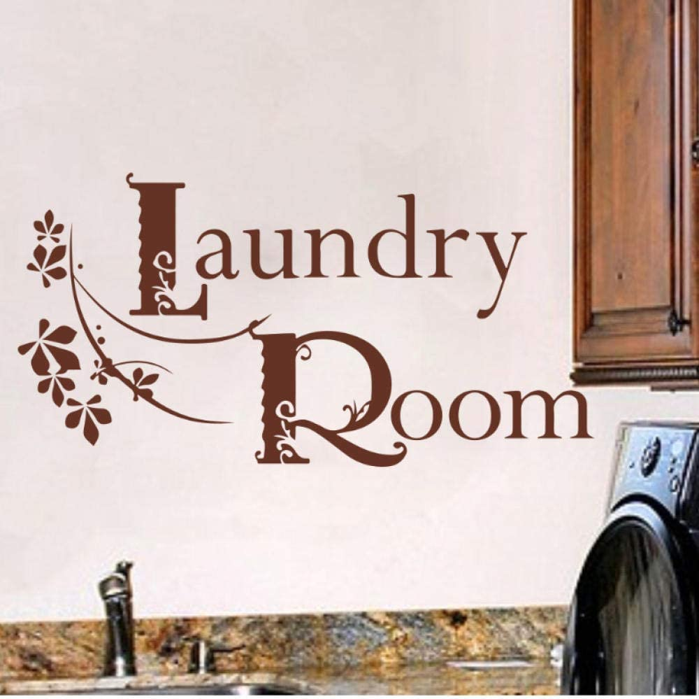 Room Words Flower Wall Sticker Wash Room Laundry Room Sign Lettering Wall Decal Washing Room Vinyl Home Decor