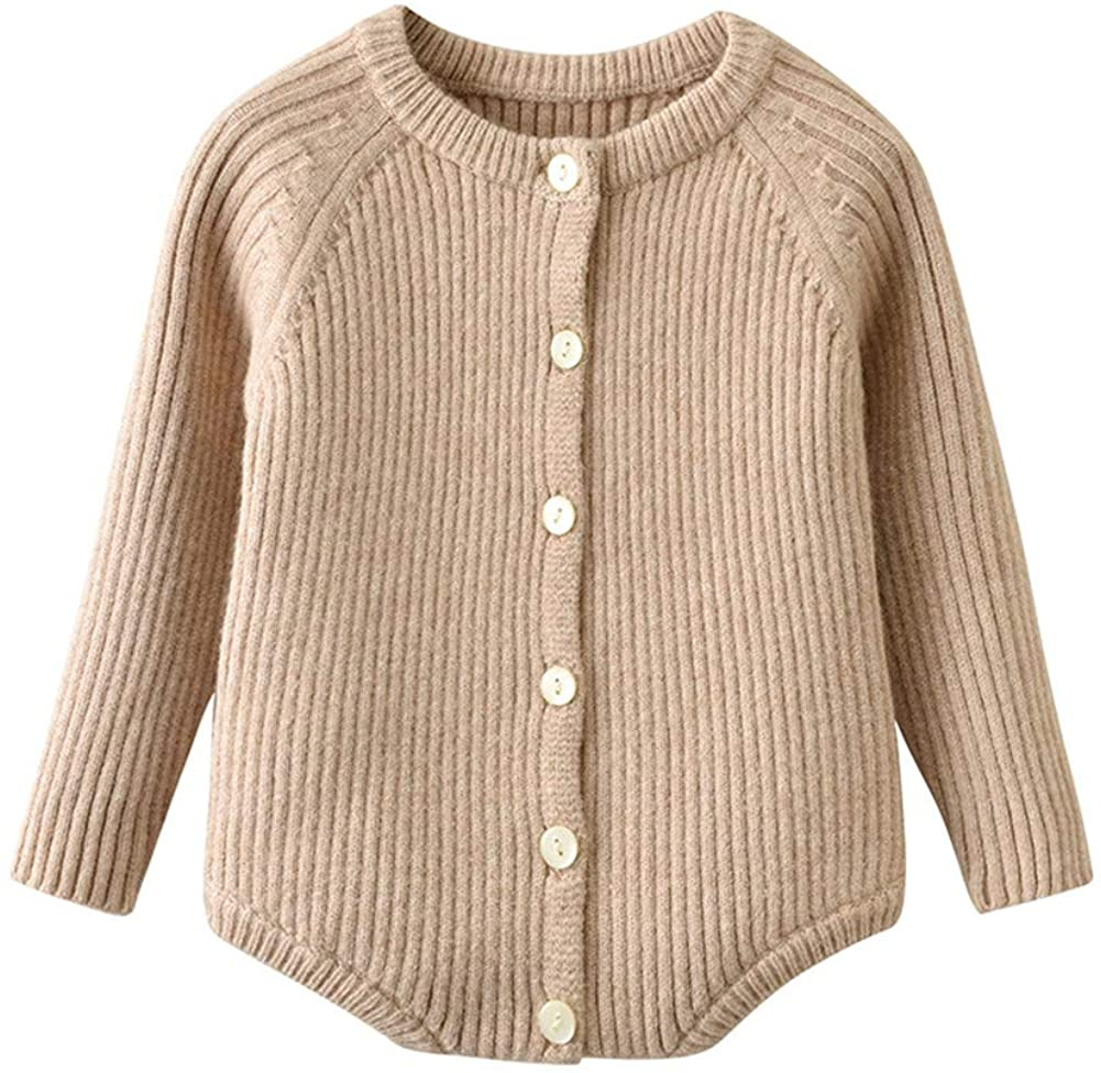 Winter Newborn Baby Boy Girl Solid Knitted Long Sleeve Button Onesie Bodysuit Clothes 3 6 9 12 18 24 Monthes